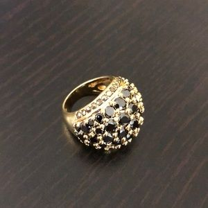 HSN Jewelry - Black Cubic Zirconia & Marcasite Dome Ring